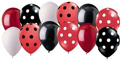 12 pc Black & Red Ladybug Inspired Latex Balloon Party Decoration Minnie Mouse - Red Minnie Mouse Decorations