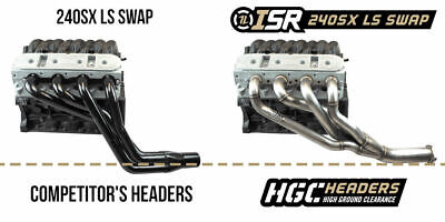 """ISR Performance 1-3/4"""" HGC High Ground Clearance LS Swap Header Kit for 240SX"""