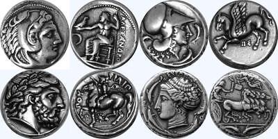 4 Famous Greek Coins, Alexander Athena Zeus Arethusa Stocking Stuffer (Set 1-S)