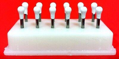 Round Mounted White Stone Dental Polishing Burs -FG 12/pk Abrasion Points Bur