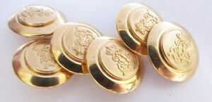 6 Blazer Military Gold Style Bronze Buttons  20MM Wide Shank Back Medium 32L