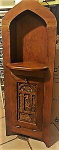 Vintage Solid Wood Telephone Nook Niche Cabinet
