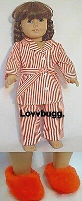 """Red Striped Molly Pajamas with Slippers  for 18"""" American Girl Molly Doll Clothes"""