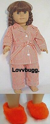 Striped Molly Pajamas w Slippers for 18 inch Doll Clothes American Girl Best