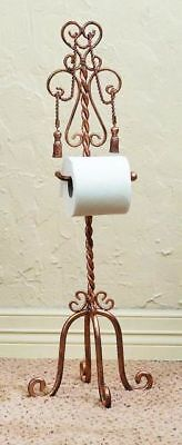 French Gold Toilet Tissue Holder - NEW FRENCH ROYAL TASSEL TISSUE REGAL TWISTED IRON ROPE GOLD TOWEL TISSUE HOLDER