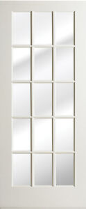 15 lite primed smooth mdf solid wood interior french doors for 15 light exterior wood door