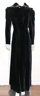vintage black velvet hooded wrap dress over coat goth steampunk glamour