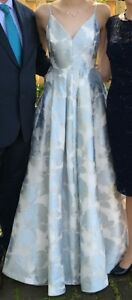 Prom dress: white with subtle blue and silver flowers