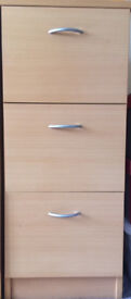 Filing Cabinet - 3 Drawers - Beech effect (3 available @ £25 each/ £60 all 3) - Very good condition