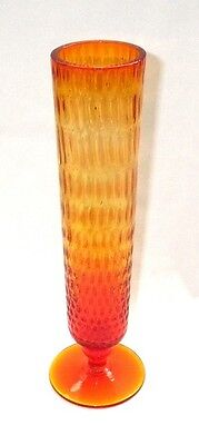 "9 1/2"" Tall AMBERINA Art GLASS Pattern Footed VASE"