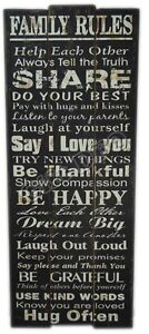 Family Rules Wall Art Hanging Wooden Plaque Sign Word Board -YES: H100cm x W40cm