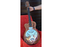 left handed SX acoustic electric cutaway resonator guitar