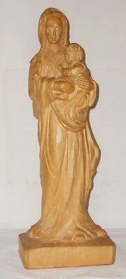 Old Carved Sacred Figure Wooden Figure Holy Madonna Carved Wood Wooden