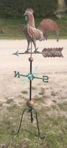 weather vane -Copper & Iron Rooster. Vintage style. 5 feet tall!