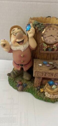 1999 Disney Catalog Seven Dwarfs Desk Set Doc Clock Pen Holder, Broken Hammer