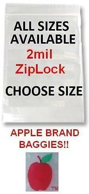 1000 Pack Apple Brand 2mil Clear Ziplock Bags 1000 Baggies Resealable Plastic