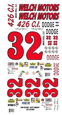 #32 Marty Robbins 1966 Dodge Welch Motors 1/43rd Scale Slot Car Waterslide Decal