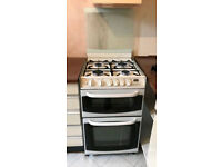 Cannon Gas Double Oven Cooker for sale with LCD display, splashback, timer. White. Delivery