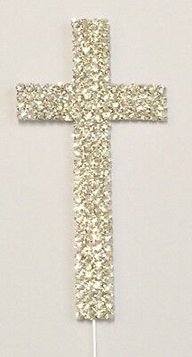 Large Rhinestone Cross (Large Rhinestone Cross Baptism Communion Christening Easter Party Cake Topper )