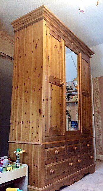 Large Pine Mirrored Wardrobe With 5 Drawers