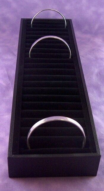 LARGE 19 SLOT BLACK VELVET  BANGLE DISPLAY