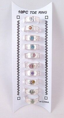 Brand New 10 Piece Set of Silver Tone Toe Rings with Colored Crystals #R1123