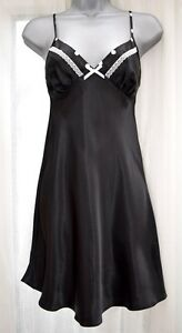 Ladies  Silky Soft Shiny Satin Chemise Nightdress Nighty BLACK  size 14 New