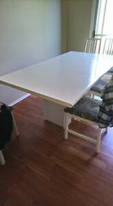 SELLING Big White Kitchen Table + 6 Chairs