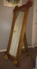 Free-standing, natural wooden full length mirror