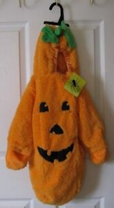 Plush Orange Pumpkin Infant Bunting Halloween Costume 0-6 Months
