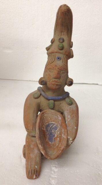 Handmade Peruvian Terracotta Sitting Figurine Clay Statue Hand Made and Painted