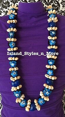 Hawaii Wedding Kukui Nut Lei w/ Cowrie Shell Graduation Luau Necklace- BLUE