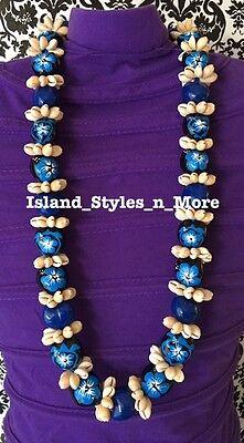Hawaii Wedding Kukui Nut Lei w/ Cowrie Shell Graduation Luau Necklace- BLUE