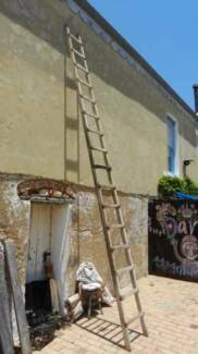 Vintage very long wooden ladder 4.9 metres
