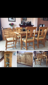 Pine table, 6 chairs, corner cabinet and hutch