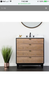 Holly & Martin Tobin Bath Vanity Sink w/ Marble Top - Industrial