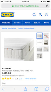 Full/Double Size NEW Memory Foam Mattress Available!