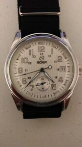 Mens Goer Automatic Date Watch White Dial Black Webbing Strap Display Back.