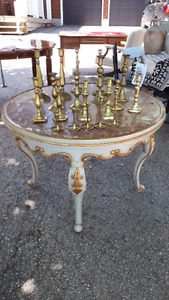 Mid Century Vintage French Louis XV Centre Gueridon Marble Table