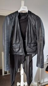 All Saints size 12 leather waterfall jacket