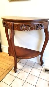 Console or Hall Table; carved wood; tall