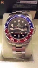 Rolex gmt master ii pepsi ceramic bezal sweeping hands sapphire glass waterprooof. weight 150 grams