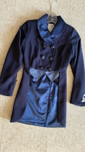 SHADBELLY COAT *Youth 10 *Midnight BLUE with *Blue Plaid Points NEW Satin Collar