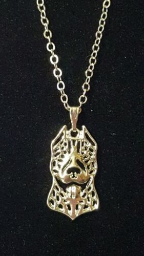 """Pitbull, Pit Bull, Necklace, Silver Chain 18"""""""