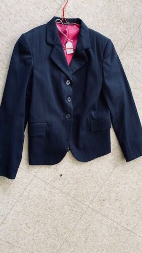 Devon Aire COMPETITION Hunt COAT *Youth 12 NAVY* Pinstripe *VGC Wool Blend