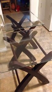 Matching wood and glass end tables