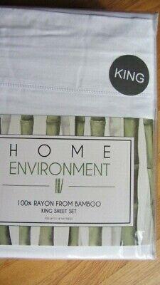 Home Environment Bamboo King Sheet Set 100% Rayon from Bamboo NEW $385 White