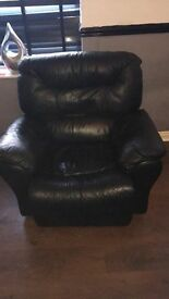 Black leather reclining chair.