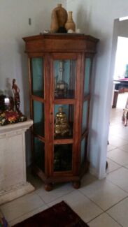 Large solid TEAK wood display cabinet showcase cupboard hutch Mount Sheridan Cairns City Preview