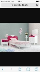 Cilek girl's single bed PINK very good condition RRP £280. Can deliver